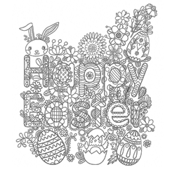 Adult Colouring Page Happy Easter