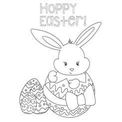 Child Happy Easter Colouring Page
